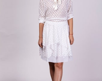White skirt, Polka dot skirt, Multy layer skirt, Boho skirt, Knee skirt