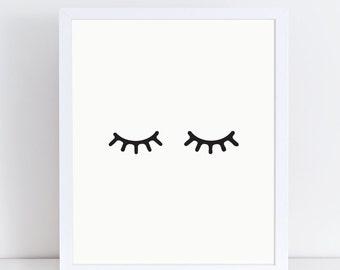 Eyelashes Print, Evil Eye Poster, Large Wall Art, Nordic Decor, Scandinavian Modern, Minimalist Poster, Digital Download, Closed Eye Print