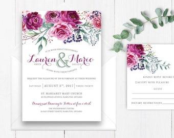 Floral Wedding Invitation, Printable, DIY