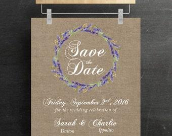 Save The Dates Cards, Digital, Printable, Rustic, Floral Wreath, Canvas, Wedding, DIY