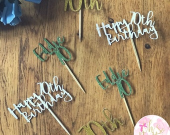 X6 Personalised Cupcake Toppers - Party Decor