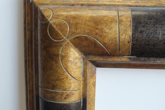 24 X 30 Art Deco Picture Frame Geometric Black With Dark Gold Leaf