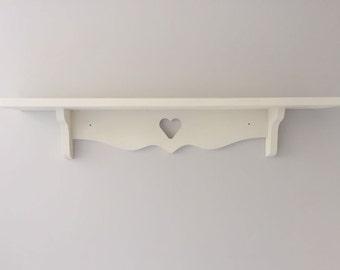 3 X heart shelves Annie Sloan White 60cms each Nursery Kitchen etc
