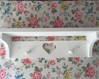 Hand Made Two Shaker Peg Shelf With Gap 60 cms Painted Annie Sloan White