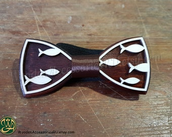 8cb7d2cbd4c8 Wood bow tie Fish, animalistic wooden unisex accessory