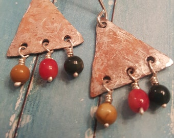 Textured Triangle Earrings, Mixed Metals