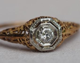 Dreamy antique 14K gold Diamond filigree engagement ring