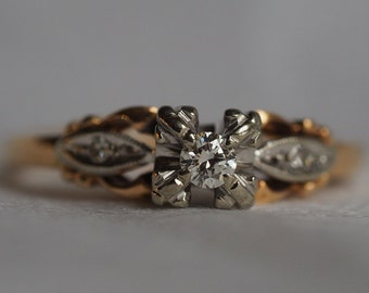 Romantic vintage 14-18K yellow and white gold Diamond engagement ring