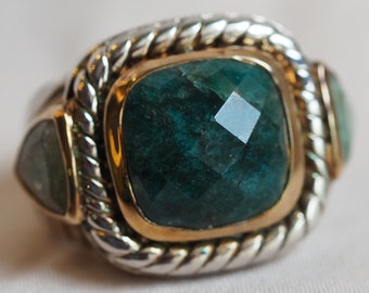 Big, bold and bohemian recently-vintage sterling silver faceted green stone statement ring