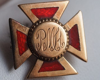 Militaria Pair Of Italian Vu Collar Pin Distinctive Insignia Italy Older Vintage
