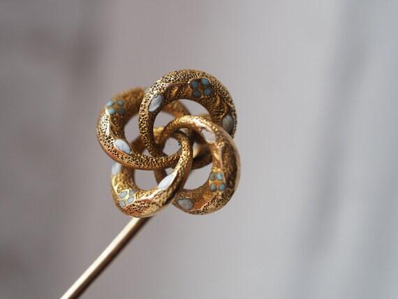 Darling antique 10K gold enamel stick pin