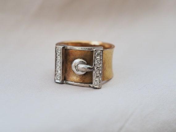 Perfect vintage 18K gold & Diamonds wide belt buck