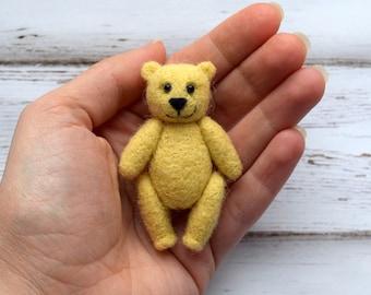 Little bear Needle felted bear Cream bear Miniature Teddy Bear First bear Memory bear