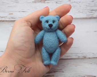 Little Teddy bear  Miniature teddy bear Needle felted bear  Blue teddy bear  Teddy Bear Photo Prop Newborn Photo Prop
