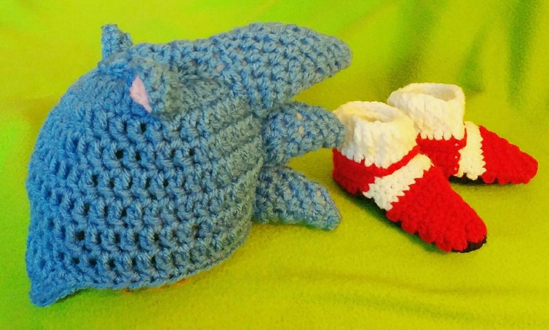 Baby Sonic Hat And Red Shoes Sonic The Hedgehog Baby Hat Sonic Etsy
