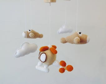 Hot Balloon Baby Mobile Crochet Hot Balloon Baby Mobile Hot Etsy