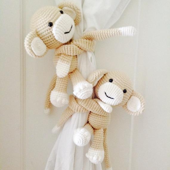 Pre-ORDER Licht braun Affe Gardinenhalter Rücken häkeln Affe | Etsy