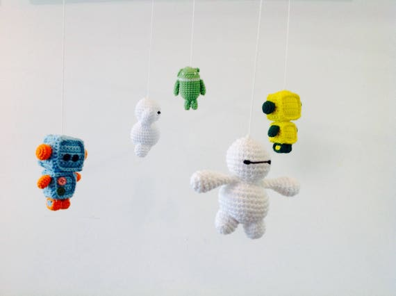 Häkeln Sie Häkeln Baby Mobile Roboter Android Baby Mobile Etsy