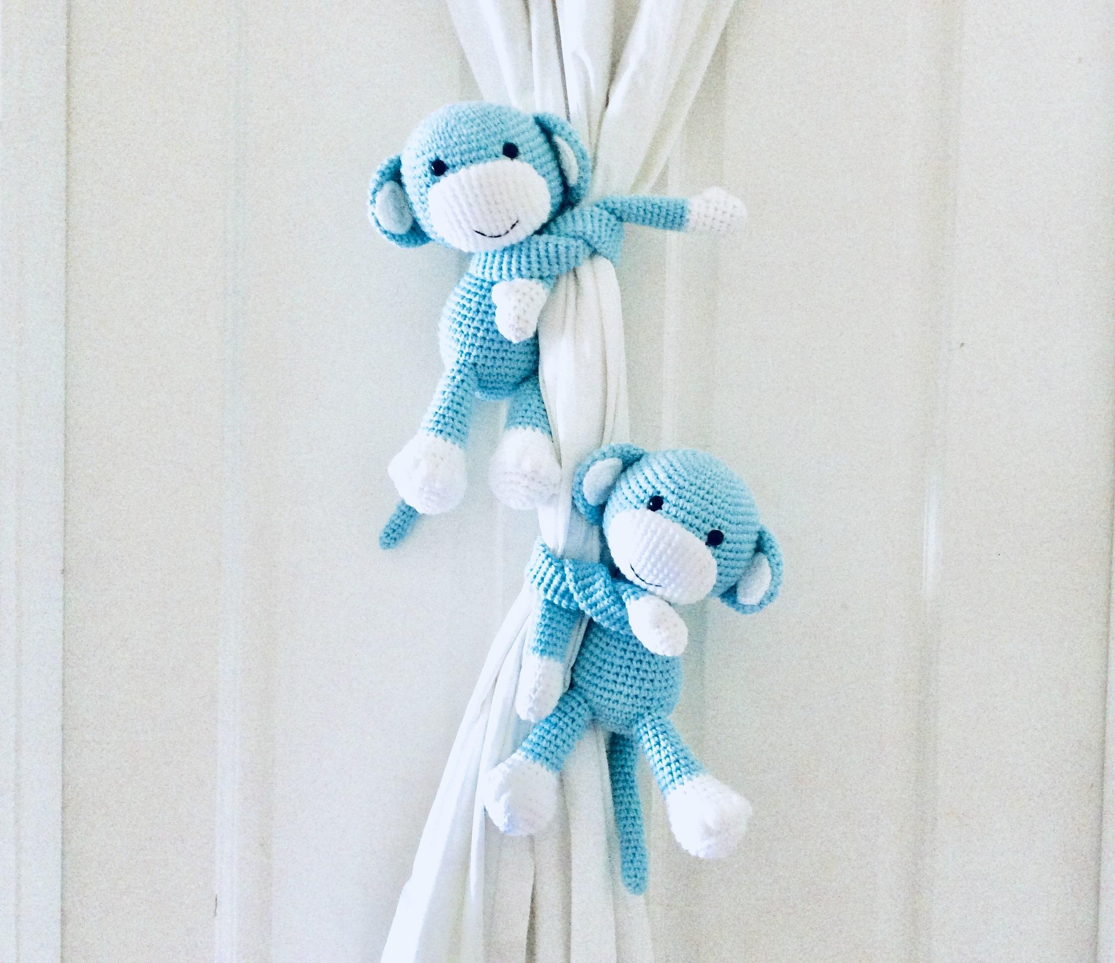 Monkey curtain tie back crochet monkey curtain tie back tie | Etsy | 1935x2240