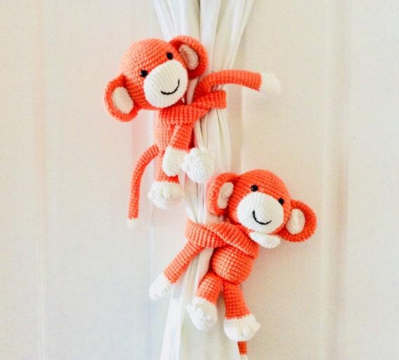 Orange Monkey Gardinenhalter Rücken häkeln Affe Vorhang | Etsy