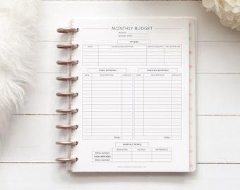 MONTHLY BUDGET for Discbound Planner, Mini, Happy Planner, Junior Disc Bound, Letter, ARC, Tul, Half Letter, Budgeting, Finance, Disc Bound