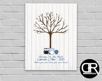 Customizable Owl theme Baby boy sign in for baby shower use your thumb prints as leaves!