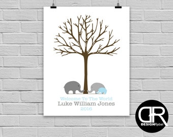 Customizable Baby boy sign in for baby shower use your thumb prints as leaves!