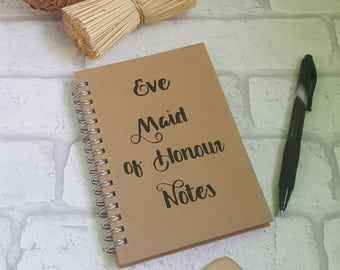 Bridesmaid Notebook, Maid of Honour Notebook, Maid of Honor Notebook, Personalised Notebook, Wedding Planner, Wedding Notebook