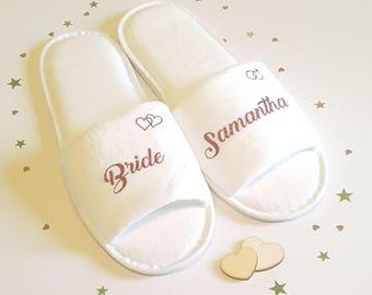 Bridesmaid Slippers, Personalised Luxury  Wedding Slippers, Bridal Party Slippers, Bride Slippers, Wedding Slippers, Hen Party, Spa Slippers