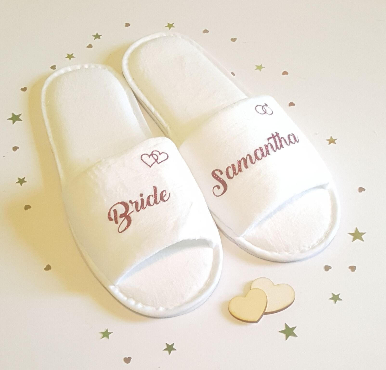 160f1525b9a Bridesmaid Slippers, Personalised Luxury Wedding Slippers, Bridal Party  Slippers, Bride Slippers, Wedding Slippers, Hen Party, Spa Slippers