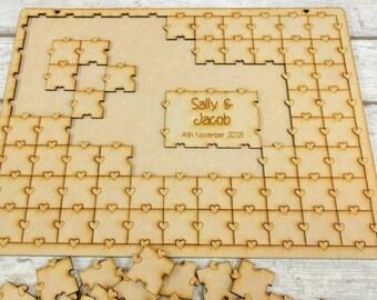 Wedding Jigsaw Puzzle Guestbook, Jigsaw Wedding Guest Book, Puzzle Guest Book, Guest Book Alternative, Birthday Guest Book