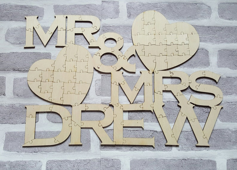 Mr & Mrs Guest Book Jigsaw Puzzle Wedding Guest Book image 0