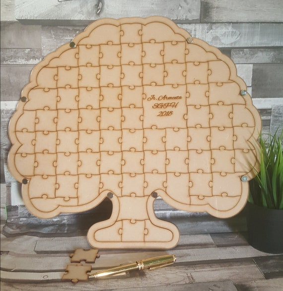 Jigsaw Puzzle Wedding Guestbook Dropbox Frame Tree Shaped Etsy