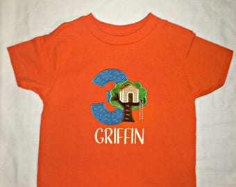 Custom appliqued treehouse  birthday shirt