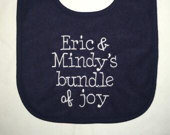 Uncle & Aunt's Bundle of Joy custom embroidered bib
