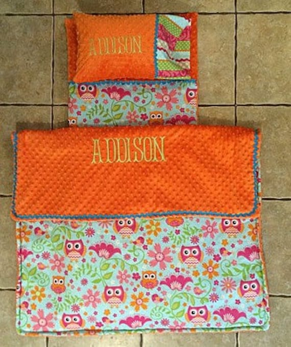 Custom Appliqued Owl Nap Mat Cover Blanket Pillow And