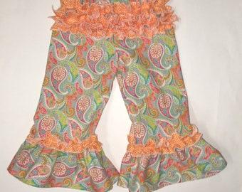 Girl's paisley ruffle pants