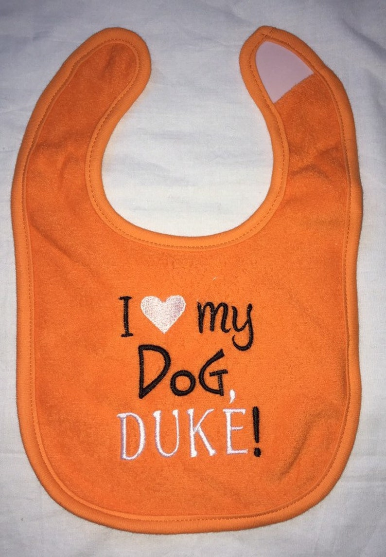 I heart my dog custom embroidered bib