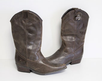 Brown Leather Western Womens Cowboy Amsterdam Boots Shabbies YEIWHD29