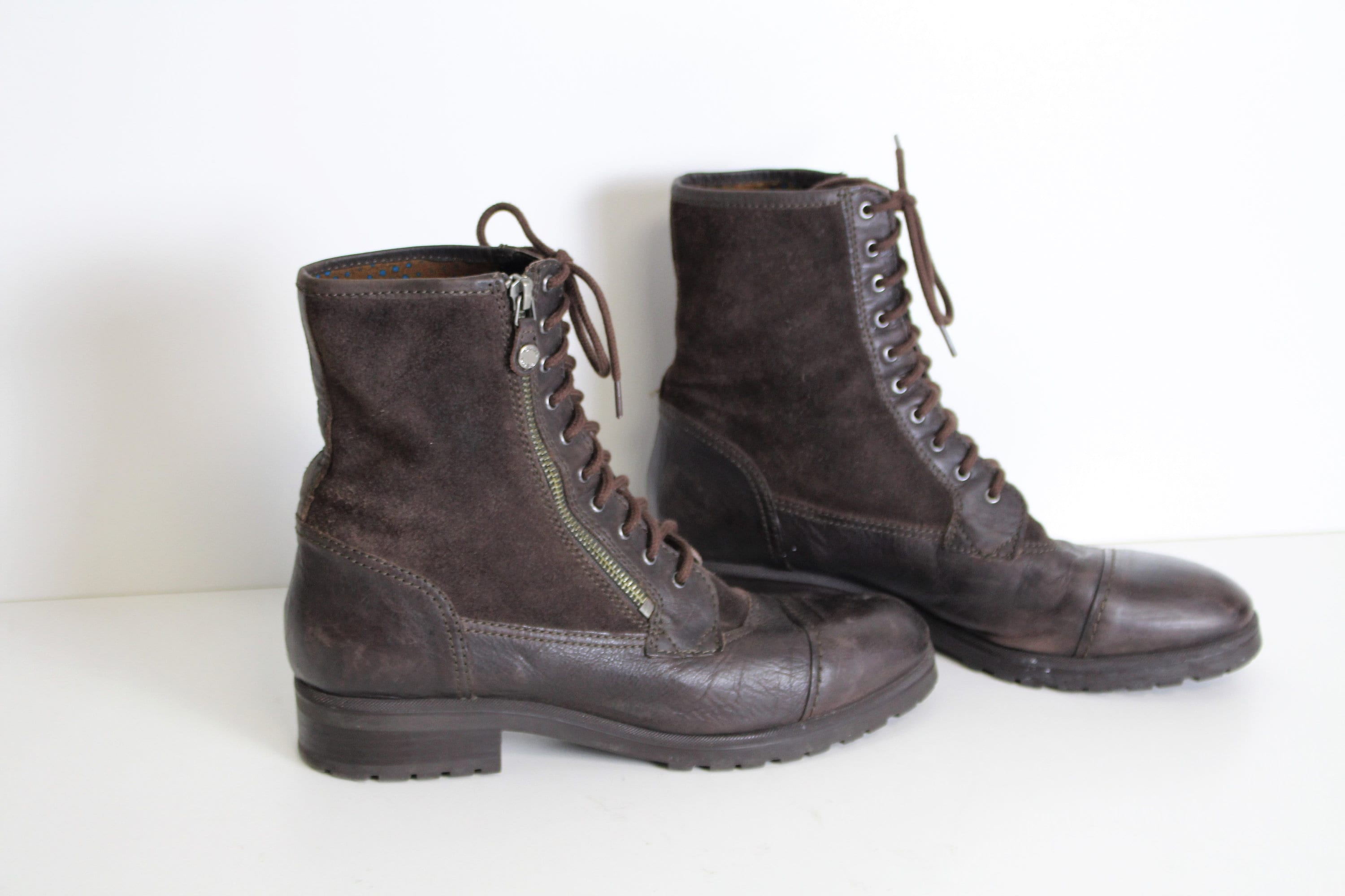 c0d30268b0e42 Brown Suede Chukka Boots GEOX Dark Brown Lace up Ankle Combat Military  Boots Round Toe Size Eur 41 US 10,5
