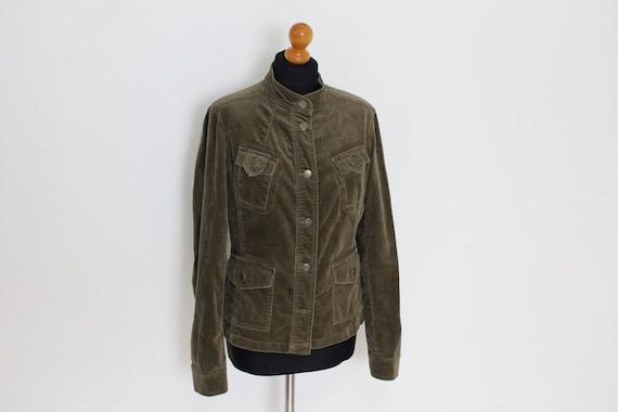 Brown Velvet Jacket Military Band Jacket Mandarin