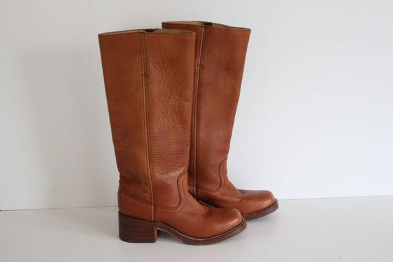 half off 3b640 56bb2 Brown Cowboy Boots Vintage BUFFALO Womens Western Leather Boots Pull on Tan  Brown Riding Boots Hippie Boho Festival Uk 3.5 / Eu 36 / Us 5.5