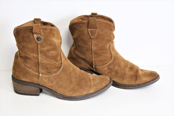 Brown Suede Boots Brown Ankle Cowboy Boots Camel B
