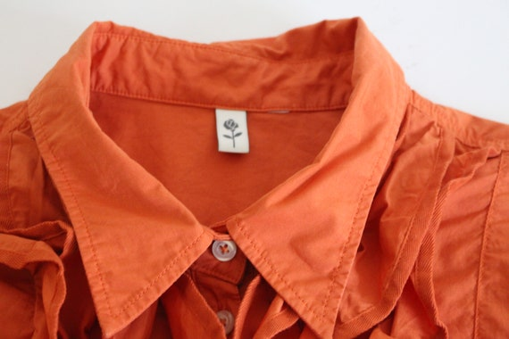 Orange Frill Blouse  80s  Frill Collar Blouse Fit… - image 5