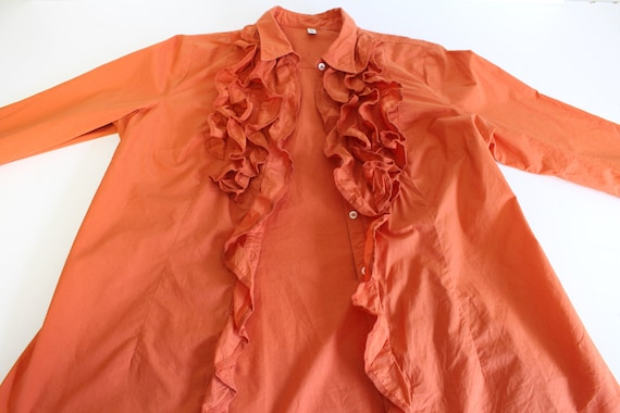 Orange Frill Blouse  80s  Frill Collar Blouse Fit… - image 6