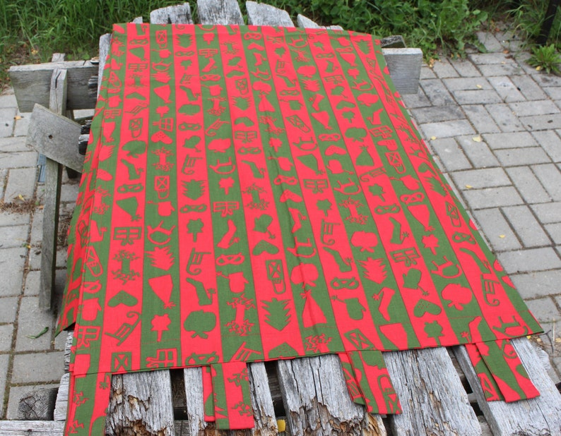 Rode paneel gordijn zweedse gordijnen ikea red green retro etsy