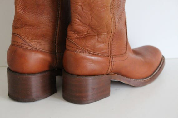 Braun Cowboy Stiefel Vintage Leder vom Büffel Womens Western Stiefel ziehen auf Tan braun Reiten Stiefel Hippie Boho Festival Uk 3,5 Eu 36 uns 5,5