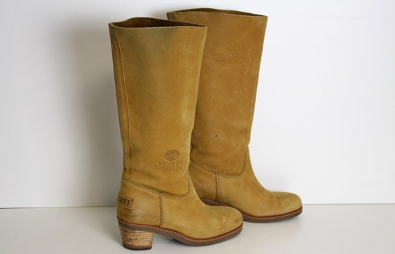 Brown Leather Western Boots SHABBIES AMSTERDAM Womens Cowboy Yellow Brown mid Calf Hippie Boho Festival Boots Eur 38 (Eu) 7.5 (Us )