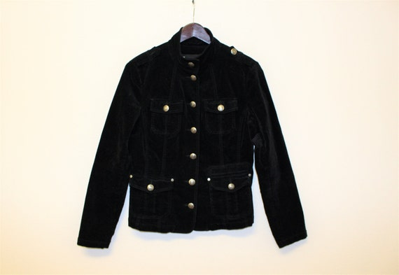 beste Angebote für Sportschuhe klassische Stile Schwarz samt Militärjacke schwarz Baumwolle Velveteen Damen Militärischen  Blazer Metall Knöpfe MJ Michael Jackson Blazer mittlerer Größe