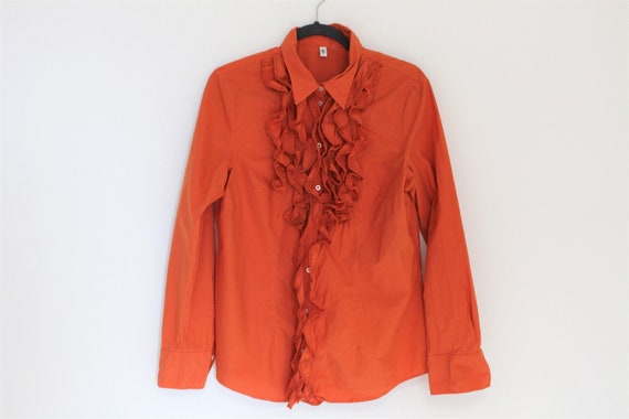 Orange Frill Blouse  80s  Frill Collar Blouse Fit… - image 1